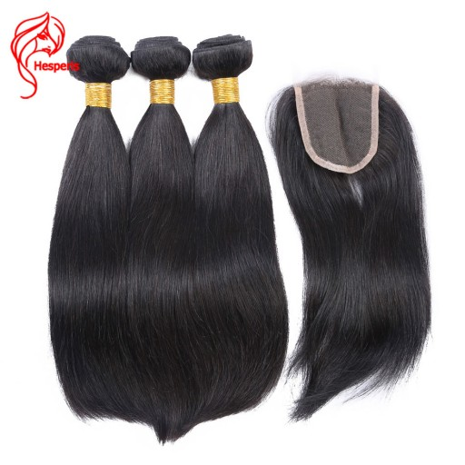 Brazilian Silky Straight 100% Human Hair Bundles With Lace Closure 3 Bundles