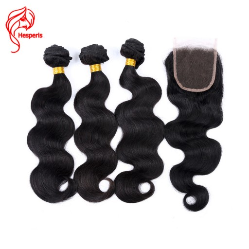 Brazilian Body Wave 100% Human Hair Bundles With Lace Closure 3 Bundles