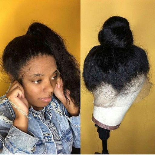 360 lace frontal wig human hair straight lace wig can be make high ponytails