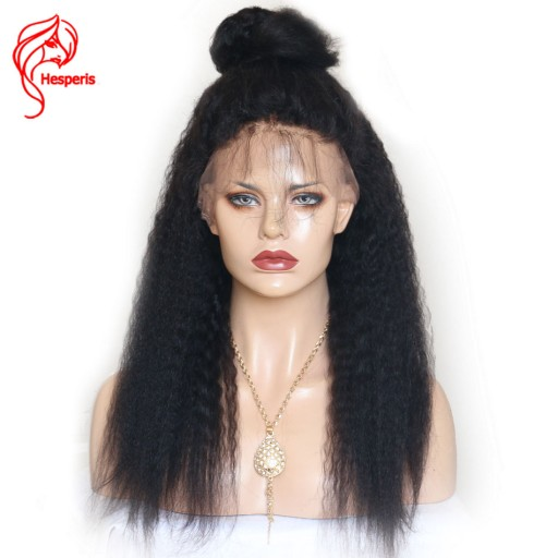 8A Kinky Straight  Human Hair Full Lace Virgin Hair Wig With Baby Hair