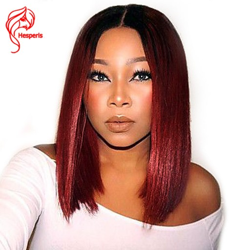 fashion hair style ombre red short bob human lace front wig