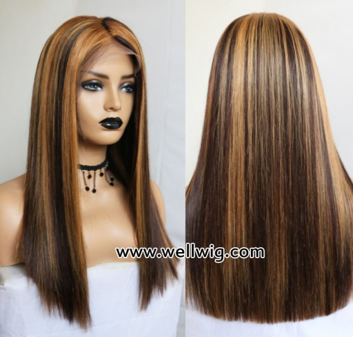 Silky Straight Natural Color Add Blonde Highlight  Lace Front Human Hair Wigs