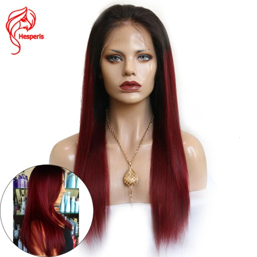 Ombre Red Straight Lace Front Human Hair Brazilian Hair Virgin Hair Wigs With Baby Hair
