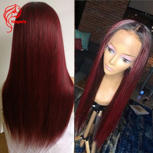 fashion ombre silky straight red lace front wig human hair