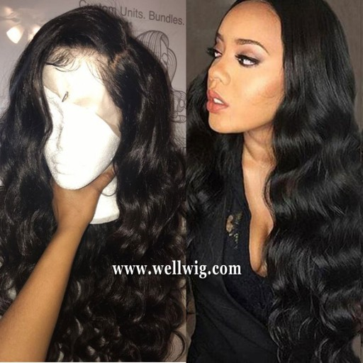 8A Brazilian Virgin Hair Wave Glueless Lace Front Wigs