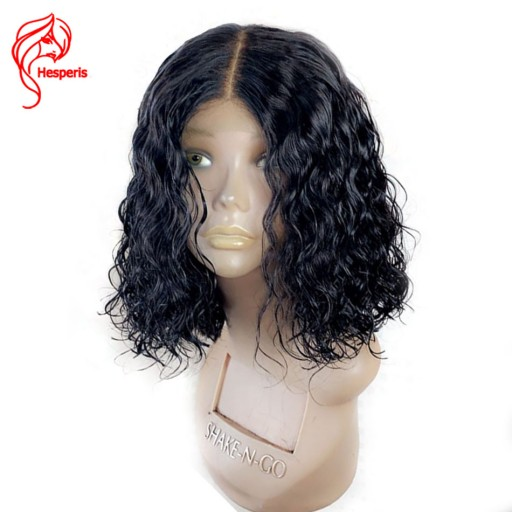 short curly human hair lace wig 6inch deep part space
