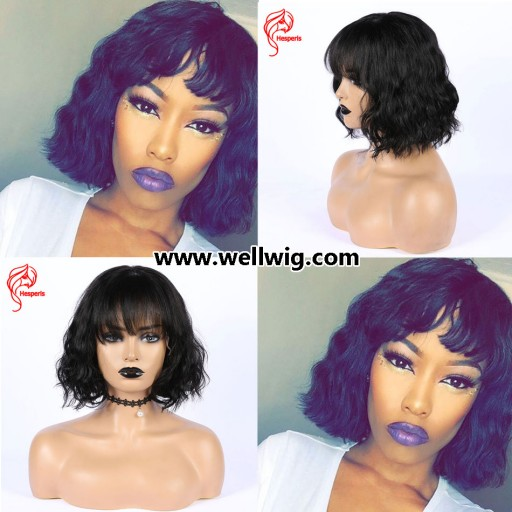 6inch deep part space short curly human hair lace wig with bang style