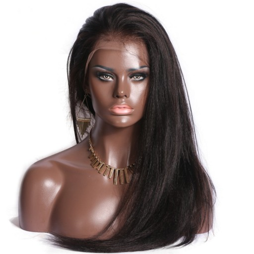 8A Yaki Pre-plucked Straight Brazilian Virgin Lace Front Wigs With Baby Hair