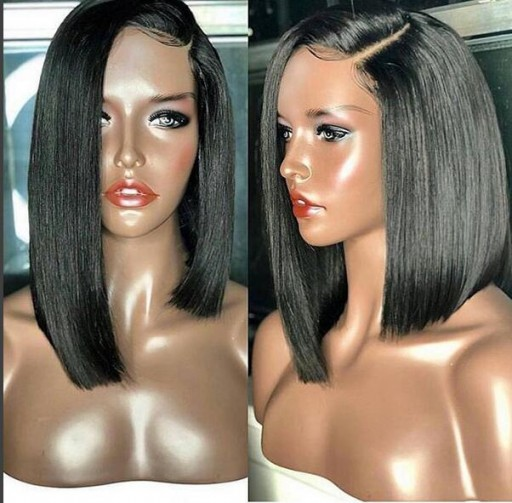 6inch deep part lace front wig asymmetric short human hair wig