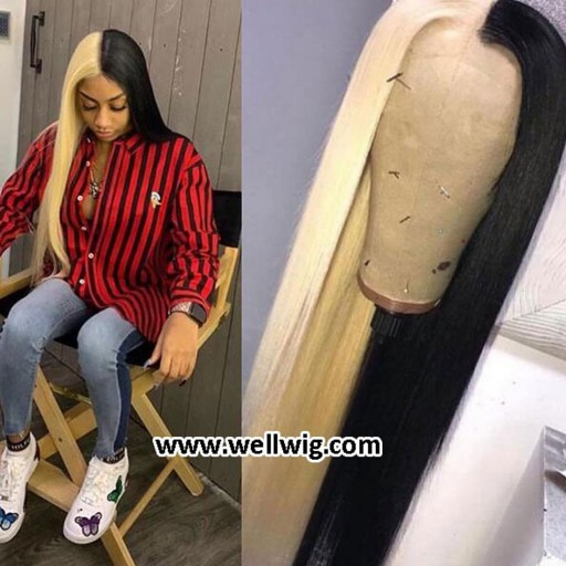silky straight human hair lace front wig half blonde and half balck