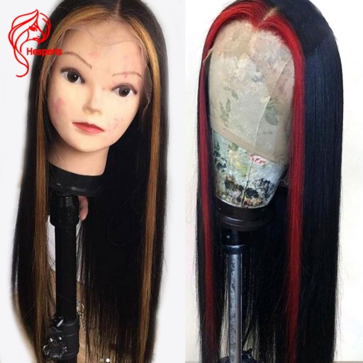 Highlight Red or Blonde Silky Straight Lace Front Human Hair Wigs With Baby Hair