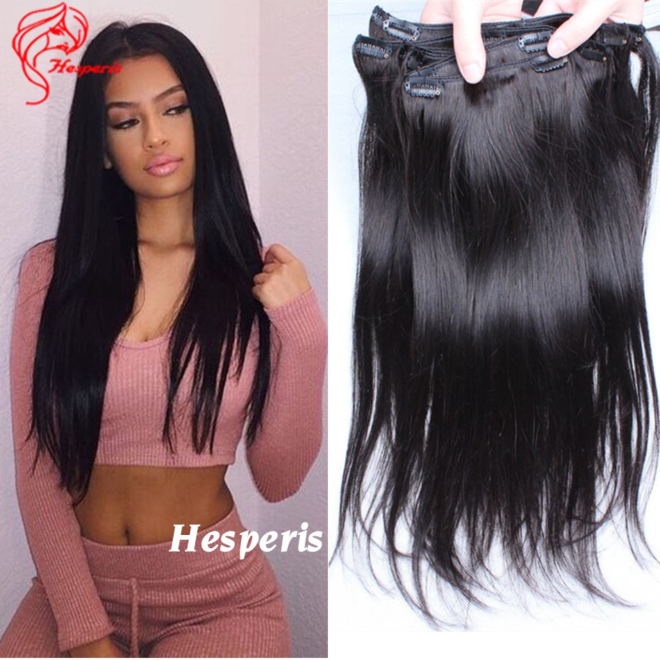 Clip In Human Hair Extensions Light Italian Yaki Straight Clip In
