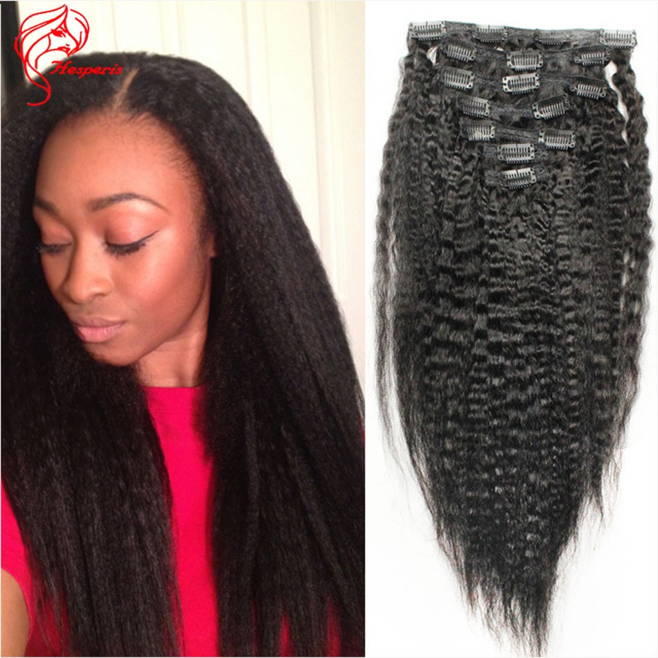 100 Grams Kinky Straight Clip In Hair Extension Epacket Fresshipping