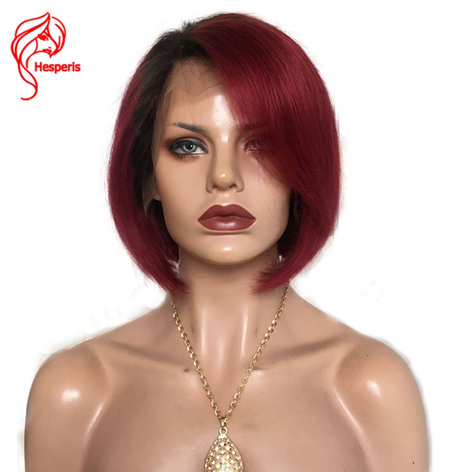 8a Ombre Red Lace Front Short Bob Human Hair Brazilian Hair With
