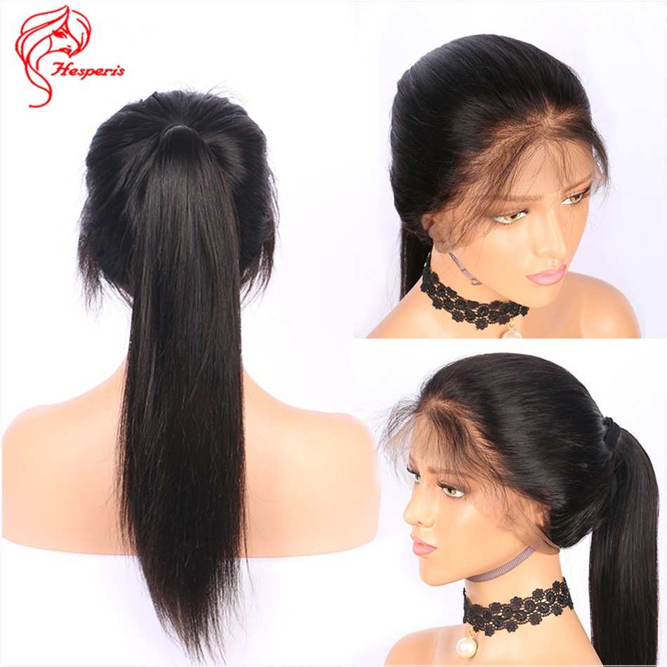 8A180 Density Silky Straight Human Hair Full Lace Wig With Baby Hair 2f258b1c5
