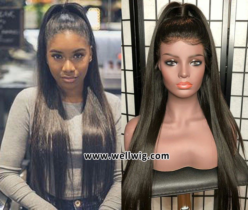 360 lace frontal wig human hair silky straight