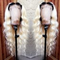 10A Color #1b/60 Soft Wave Brazilian Virgin Hair With Baby Hair Lace Front Wigs