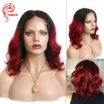 8A Brazilian Ombre Red Wavy Human Soft Hair Glueless Lace Front Wigs
