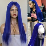 stunning blue hair color lace front human hair wig silky straight wig with baby hair