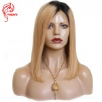 10A Color #1b/27 Ombre Honey Blonde Short Lace Front Brazilian Virgin Hair Wigs