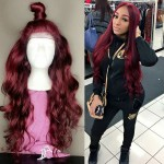 8A burgundy full lace human hair wig