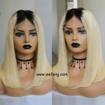 Ombre Blonde Short Bob Wig Human Hair Bob Wigs Lace Front Wigs With Baby Hair