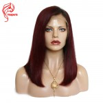 8A #1b/burgundy Ombre Color Straight Bob Lace Front Wig Natural Hairline