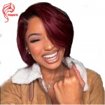 8A ombre red Lace Front Short Bob Human Hair Brazilian Hair With Baby Hair