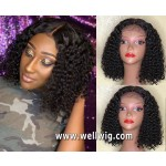 8A Short Brazlian Hair Kinky Curly  Lace Front Human Hair Wig