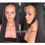 8A Yaki Straight Brazilian Virgin Lace Front Wigs With Baby Hair