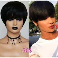 special sales!! human hair machine made pixie cut wig