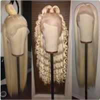 lightest blonde straight or curly hair style full lace human hair wig