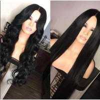 13*6inch silky straight and soft wave human hair wig lace front wig