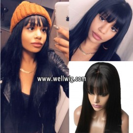 130density 6inch Deep Part Space Lace Front Silky Straight Human Hair Wigs with Bang