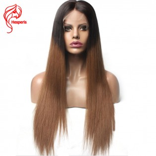 Ombre Silky Straight Human Hair Vrigin Hair Lace Front Wig
