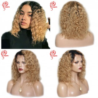 10A Grade Color 1b/#27 Honey Blonde Color Curly Lace Front Human Hair Wigs