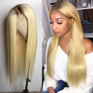 Ombre Blonde Silky Straight Lace Front Human Hair Wigs