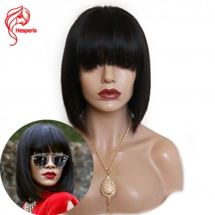 8A Short Bob Human Hair Brazilian Hair With Bangs Front Lace Wig