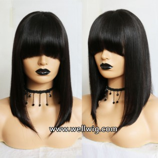 8A Brazilian Short Bob Glueless Front Lace Virgin Human Hair Wigs With Bangs