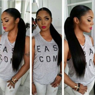 Silky Straight Human Hair Full Lace Wig With Baby Hair