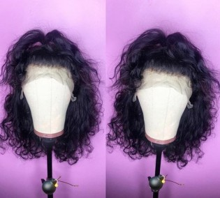 special sales!! 360 lace frontal wig short curly lace wig human hair