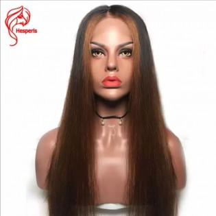 Ombre Silky Straight Lace Front Human Hair Wigs With Baby Hair