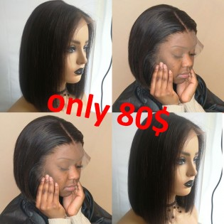 special sales 13*6inch lace front short bob cut human hair wigs