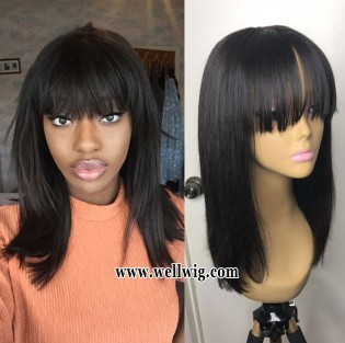 special sales 13*6inch lace front medium length human hair wigs with bang