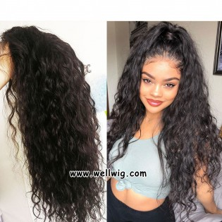 13*6inch lace front water wave human hair wigs