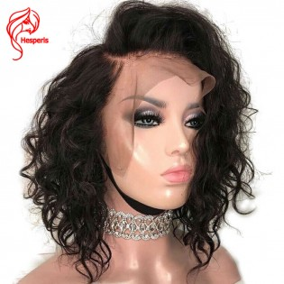 Hesperis Remy Brazilian Short Water Wave Wigs Cut Bob 13x6 Lace Front Pre Plucked Human Hair Wig