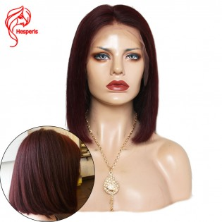 8A 99j Brazilian hair Short Bob Cut Human Lace Front Virgin Hair Wigs